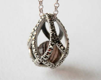 """Marcasite Easter Egg Necklace Sterling Silver Caged Pearl Pendant Marcasite Pendant 16"""" Chain"""
