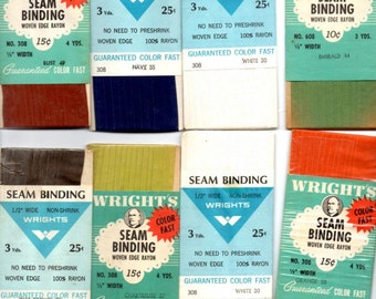 Vintage Seam Binding Lot of 17 Packages Wrights Woven Edge Rayon Retro Sewing Notions