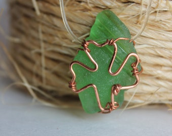 Shamrock Green Sea Glass Cooper Necklace Pendant St. Patrick's Day Irish