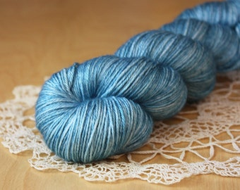 Hand Dyed Yarn / Fingering Weight / Blue Woad Wode Cornflower / Silk Merino Wool