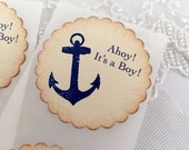 Anchor Stickers Ahoy! Nautical Labels Baby Shower Birthday Envelope Seals Set of 10