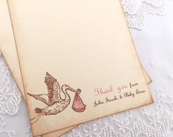 Girl Stork Thank You Cards Baby Shower PInk Personalized Set of 10