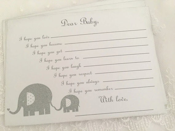 Baby Shower Wishes for Baby Game Activity Cards Fill in the Blanks Vintage Elephant