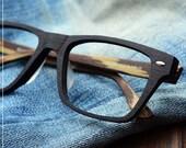 lage size wood grian acetate glasses square prescription RX eyeglasses