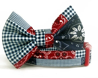 Red White & Blue American Patchwork Bow Tie Dog Collar