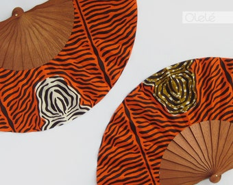 Wax block print fan with leather case - Animal print accessory - Zebra Hand fan in orange and white or olive green - Safari party