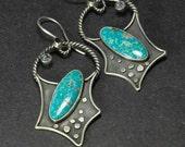 Turquoise Earrings, Statement Earrings, Sterling Dangle Earrings, Metalsmith Jewelry, OOAK