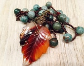 Wire wrapped Glass LEAF pendant autumn fall shades African Jasper beaded necklace Truly Beautiful