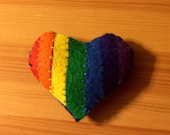 Rainbow Heart Handcrafted Heart Pin Brooch