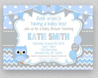 Baby Shower Invitation, Boy Baby Shower Invitation ,  Baby Shower Invitations, Owl Baby Shower, Chevron Owl Invitations