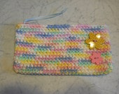 Pencil Case,  Wallet, Coupon Holder, Makeup Bag in Pastel Colors with 2 Buttons to match