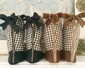 Houndstooth Toddler Girl Boots, Baby Girl Boots, Brown Houndstooth Boots, Black Huondstooth Boots, Fall Boots Winter Boots Soft Soled Shoes