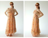 70s Gauzy Peach Maxi Dress- Flowy, S/M, Alternative Bride, Boho Bridal Long Dress, Breezy Stevie Nicks Bohemian Gown
