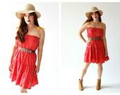 70s Cowgirl Boho Dress- Tiered, M, Red Flower, 6, 8, Sun Dress, Easy Wear, Easy Fit, Western Hippie