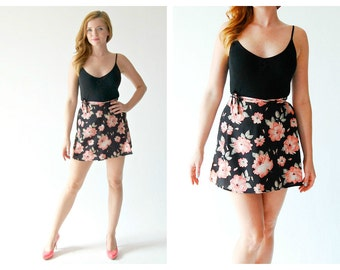 90s Floral Mini Skirt- S, Black, Wrap Flower Grunge Burnout Courtney Love Hipster Hella90s Pink Rose Short Frilly Skirt