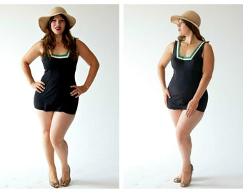 1950s Volup Swimsuit- Bathing Suit, L, 36, Green White Stripe, Hourglass Bombshell Romper Suit, Retro Pinup Swimwear LOT 2