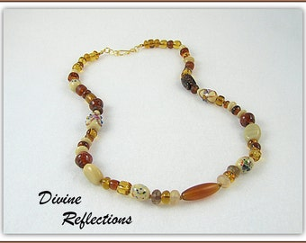 Amber Necklace, Brown Bead Necklace, Brown Necklace, Cream Necklace,Knotted Necklace, Knotted Wax Linen in Creams and Brown