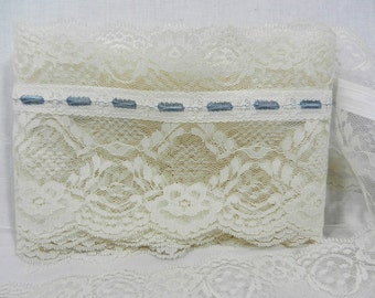 3 Yards 5 3/4 Inch Wide Cream Color Lace with Blue Embroidery, Can be Gathered