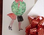 LGBT Hand Painted Greeting Card. Original Watercolor Art. 5x7 Blank w/ Envelope. Christmas, Happy New Year, Winter Wedding, Love
