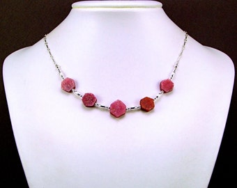 Exquisite Raw Ruby Sterling Silver  Necklace - N749