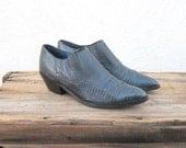 Ankle Chelsea Booties Teal Green Winklepickers 1990s Ladies Size 6