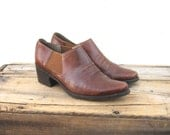 Ankle Chelsea Booties Brown Leather Winklepickers 1990s Ladies Size 8