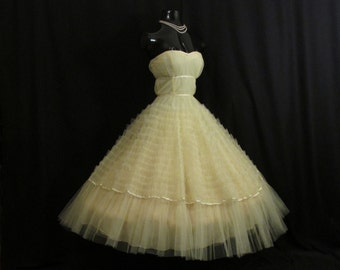 Vintage 1950's 50s Strapless Bombshell Lemon Yellow Tulle Ribbon Party PROM Wedding DRESS