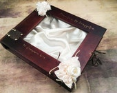 Wedding Stefana Case - Brown wood with satin ivory roses