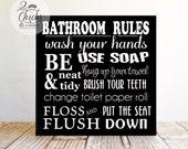 Bathroom Rules Wood Primitive Sign