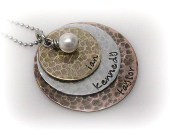 Personalized Mixed Metal Necklace 3 Stacked Discs Rustic Jewelry Hand Stamped Jewelry Custom Jewelry Mom Necklace Personalized Jewelry
