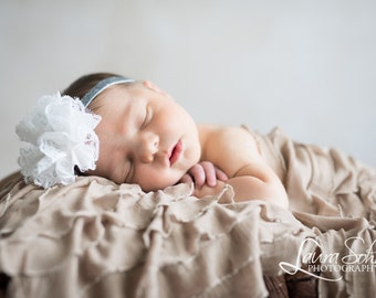 Baby Headband, White Flower Headband, Silver Headband, Baptism Headband, Newborn Headband, Infant Headband, Toddler Headband, Photo Prop