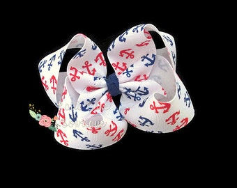 Large Nautical Boutique Hair Bow, Hair Bow for Girls, Patriotic Hair Bows for July 4th,Toddler Hair Bows, Girls Hair Bows, 100