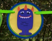 Little Monster Happy Birthday Banner MADE TO ORDER