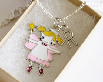 Tooth Fairy Necklace Silver, Personalized Initial Necklace, Tooth Necklace, Tooth Fairy Gift