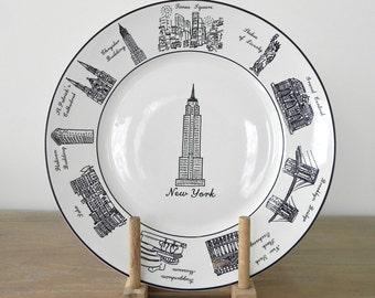 New York City Dinner Plate Decorative Plate Empire State Building Brooklyn Bridge Soho New York City Souvenir Country Home City Home
