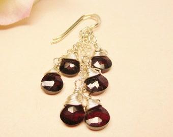 Sale! Garnet Earrings, Garnet Cluster Earrings, Long and Dangle Earrings, January Birthstone, Gemstone Earrings