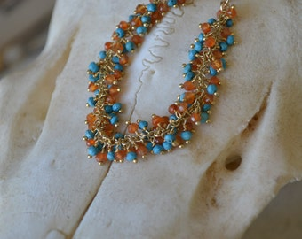 Turquoise and Carnelian bead bracelet