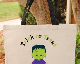 Trick or Treat Bag Halloween Tote Bag Trick or Treat Bag Canvas Tote Bag Frankenstein Monster