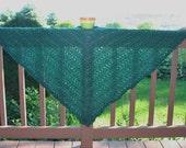 Knit Shawl Prayer Shawl or Healing Mantle Emerald Green