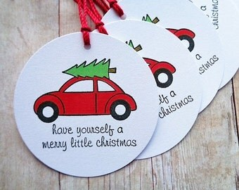 Christmas Gift Tags Bringing Home The Tree City Style Retro Red Car