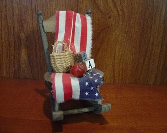 Dollhouse Patriotic rocking chair miniature 1:12 Scale