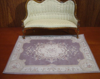 Dollhouse Aubusson rug lavender and cream 1:12 scale