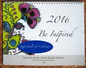 2016 WALL CALENDAR gift bundle of 4 calendars- Inspirational calendar, wall calendar 2016, bright designs, gift for teachers, coworkers