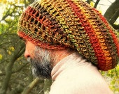 Warm, Woolly Dread Hat in Autumn Colors of Earthy Green, Gold, Orange, Browns and Red