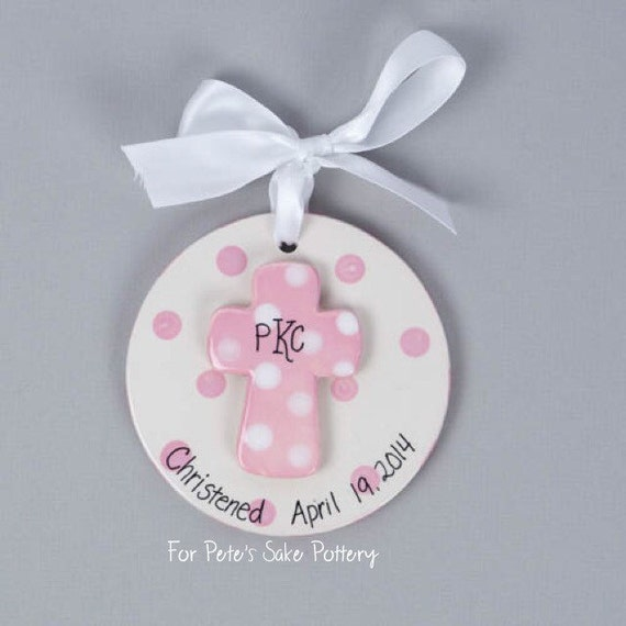 Girl Christening gift, Baptismal ornament, Dedication gift, God Parent gift, baptism cross, baptism gift, baby girl baptism