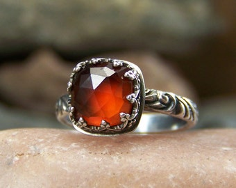 Autumn Equinox - 8mm Square Cushion Rose Cut Hessonite Garnet in Heart Crown Bezel Sterling Silver Ring