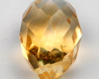 Top Quality Briolette With Top Cross Drilled Golden Yellow Citrine NR!