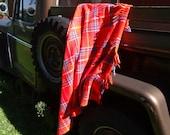 Vintage Picnic Blanket Fringed Orange Great Fall Color