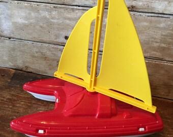 Vintage Plastic Sail Boat USA Toy Company 1970's