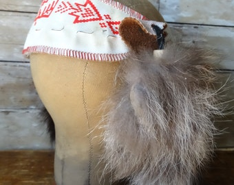 Vintage Indian Head Dress with Coon Tails Halloween Fun